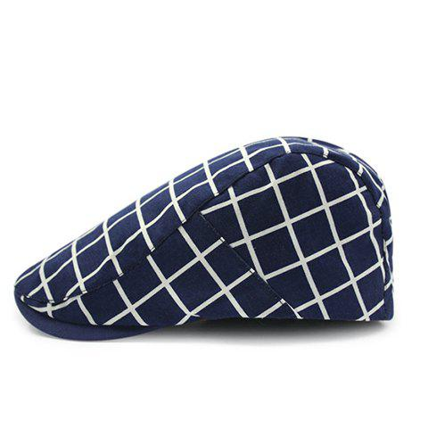 s 'élégant Hommes  Checkered Motif Cabbie Hat - Cadetblue