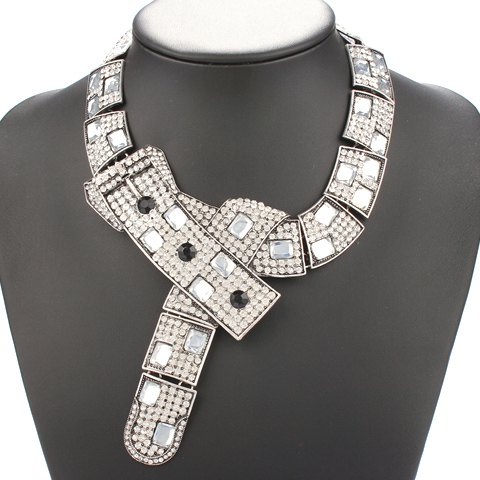 Chic Exaggerated Rhinestone Necklace For Women - WHITE
