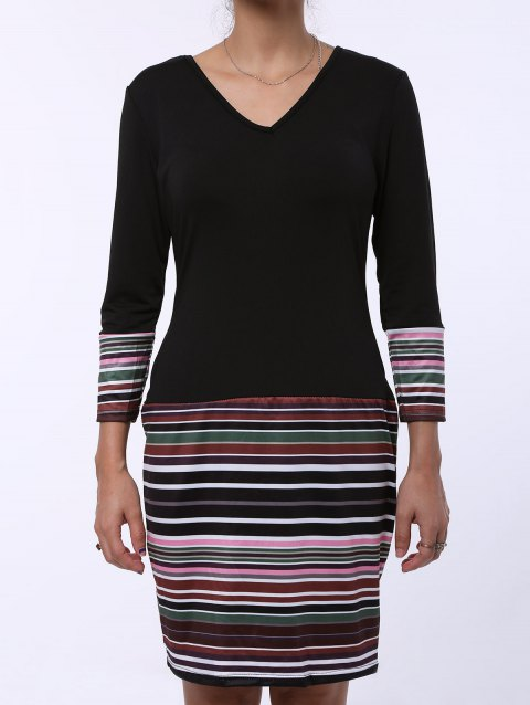 Fashion Stripe Spliced V-Neck Long Sleeve Dress For Women - BLACK 2XL