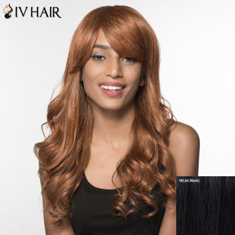Women's Charming Siv Hair Side Bang Curly Long Human Hair Wig - JET BLACK