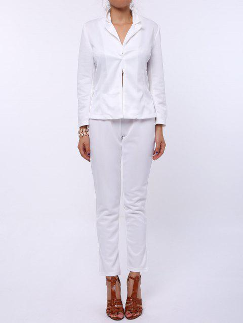 Stylish Long Sleeve Lapel Solid Color Blazer + Skinny Pants Women's Twinset - WHITE XL