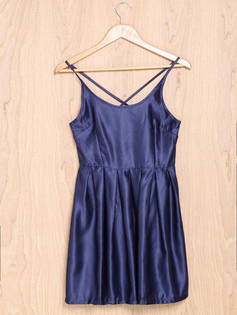Sexy Spaghetti Strap Sleeveless Solid Color Cross-Back Low-Cut Women's Dress - PURPLISH BLUE M