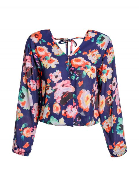Stylish Women's V-Neck Long Sleeve Cut Out  Floral Print Blouse - PURPLISH BLUE M