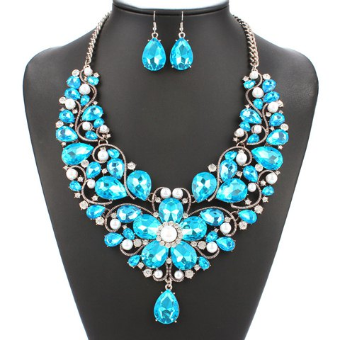 A Suit of Faux Pearl Floral Shape Necklace and Earrings - AZURE
