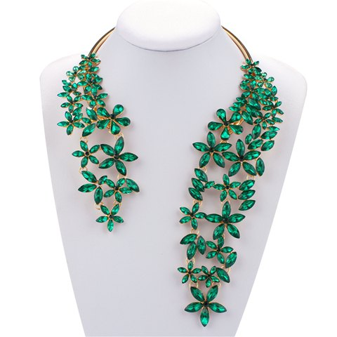 Faux Crystal Floral Alloy Cuff Necklace - GREEN