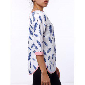 Refreshing 3/4 Sleeve Cut Out Leaf Printed Blouse For Women - WHITE M
