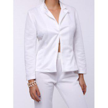 Stylish Long Sleeve Lapel Solid Color Blazer + Skinny Pants Women's Twinset - WHITE S