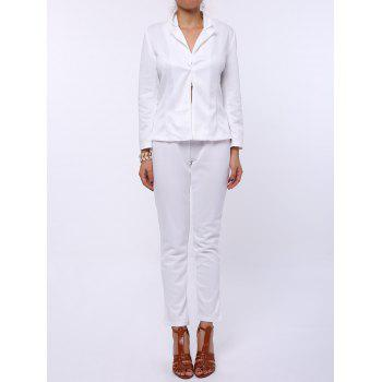 Stylish Long Sleeve Lapel Solid Color Blazer + Skinny Pants Women's Twinset