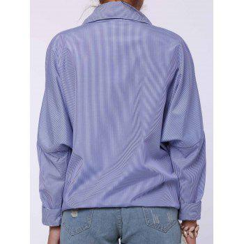 Chic Shirt Collar Long Sleeve Plus Size Striped Women's Shirt - BLUE L