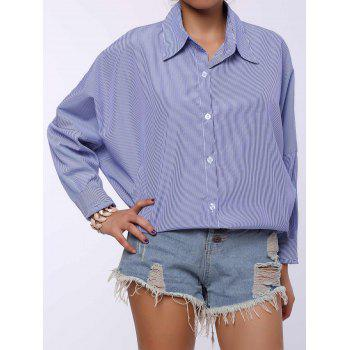 Chic Shirt Collar Long Sleeve Plus Size Striped Women's Shirt - BLUE 3XL