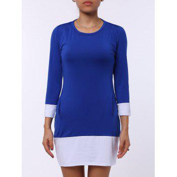 Stylish Scoop Neck Color Block Long Sleeve Mini Dress For Women