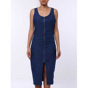 Sexy U-Neck sans manches Zip Up Bodycon Women's Denim Dress