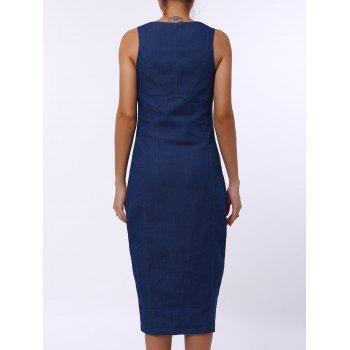 Sexy U-Neck sans manches Zip Up Bodycon Women's Denim Dress - Bleu L