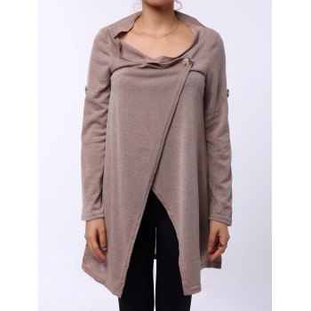 Graceful Cowl Neck Solid Color Slit Asymmetric Pullover Sweater For Women
