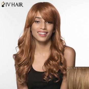 Women's Charming Siv Hair Side Bang Curly Long Human Hair Wig - BROWN WITH BLONDE BROWN/BLONDE