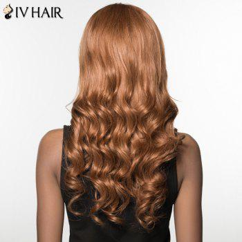 Women's Charming Siv Hair Side Bang Curly Long Human Hair Wig -  BROWN/BLONDE