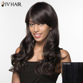 Women's Trendy Siv Hair Long Curly Inclined Bang Human Hair Wig - JET BLACK JET BLACK