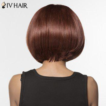 Women's Fashion Siv Hair Side Bang Bobo Style Human Hair Wig -  BROWN/BLONDE