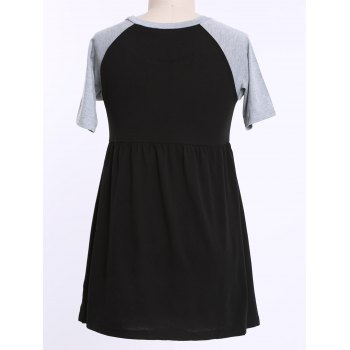 Casual Scoop Neck Color Block Plus Size Half Sleeves Women's Dress