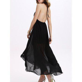 Trendy Backless Halter Chiffon Furcal Dress For Women