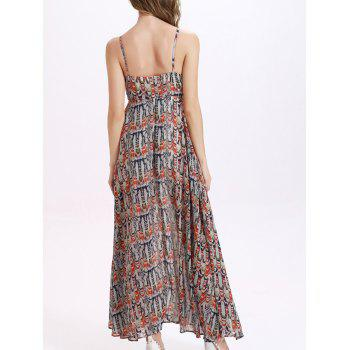 Trendy Spaghetti Strap Furcal Printed Dress For Women - COLORMIX M