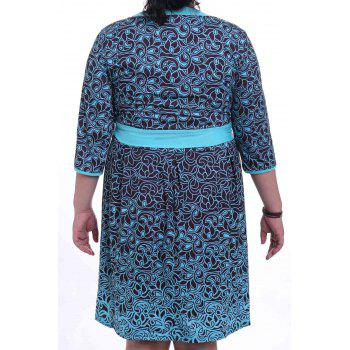 Graceful Round Collar 3/4 Sleeve Floral Print Plus Size Women's Midi Dress - GREEN XL