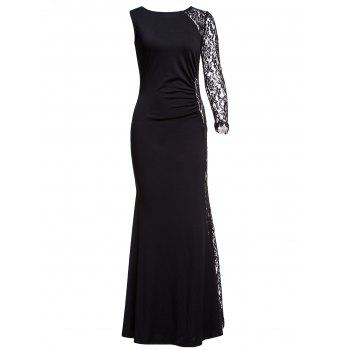 Elegant One Sleeve Cut Out Bodycon Black Maxi Dress For Women