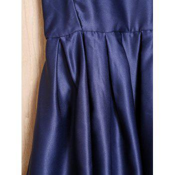 Sexy Spaghetti Strap Sans manches Solid Color Cross-Back Low-Cut Women's Robe - Bleu Violet M