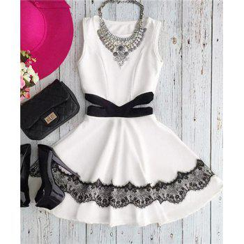 Cute Jewel Collar Sleeveless Waist Hollow Out Chiffon Dress For Women
