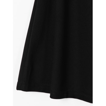 Trendy Round Neck Sleeveless Pure Color Pleated Dress For Women - BLACK ONE SIZE(FIT SIZE XS TO M)