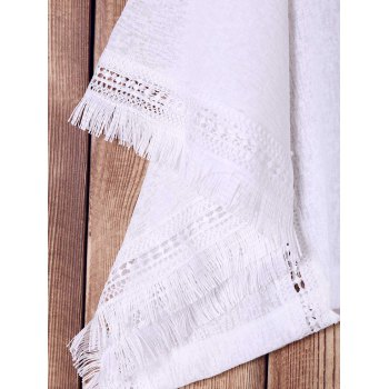 Stylish Batwing Sleeve White Hollow Out Fringed Blouse For Women - WHITE WHITE