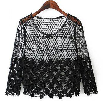 Stylish Women's Scoop Neck Hollow Out 3/4 Sleeve Blouse - BLACK BLACK