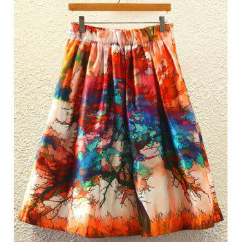 Stylish Printed High Waist Women's A-Line Skirt