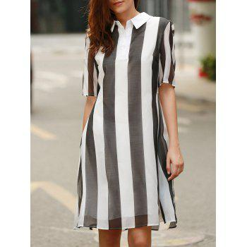 Trendy Turn-Down Collar Hit Color Striped Women's Dress