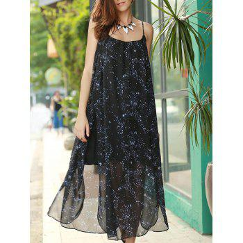 Chic Spaghetti Strap High Slit Star Print Women's Dress