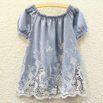 Cutwork Ruffle Tiny Floral Embroidery Blouse