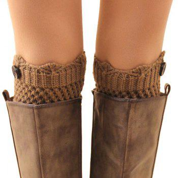 Pair of Chic Button Embellished Hollow Out Mesh Shape Women's Knitted Boot Cuffs