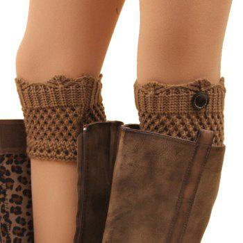 Pair of Chic Button Embellished Hollow Out Mesh Shape Women's Knitted Boot Cuffs -  COLOR ASSORTED