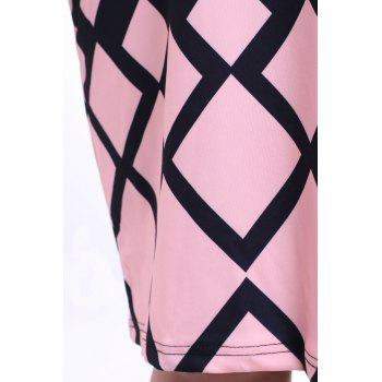 Graceful Round Collar Short Sleeve Argyle Pattern Plus Size Women's Midi Dress - PINK L