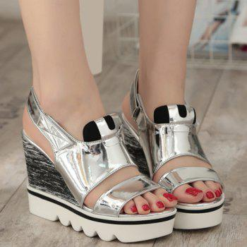 Fashionable  and Patent Leather Design Women's Sandals - SILVER 35