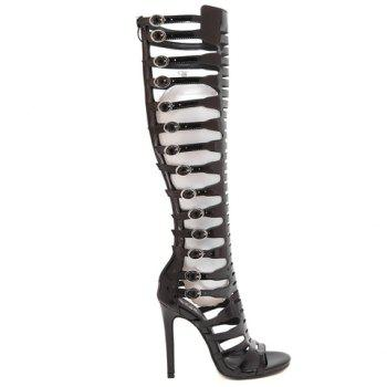 Stylish Black Colour and Patent Leather Design Women's Sandals