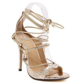 Fashionable Lace-Up and Stiletto Heel Design Women's Sandals