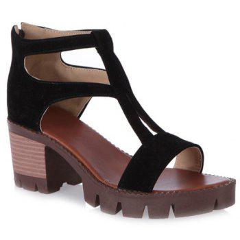 Stylish Chunky Heel and Zipper Design Women's Sandals