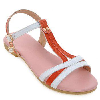 Casual Color Block and T-Strap Design Women's Sandals