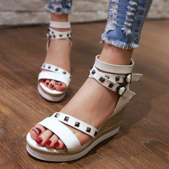 Fashionable Zipper and Wedge Heel Design Women's Sandals - WHITE 38