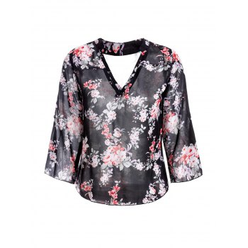 Trendy V-Neck 3/4 Sleeve Floral Print See-Through Women's Blouse