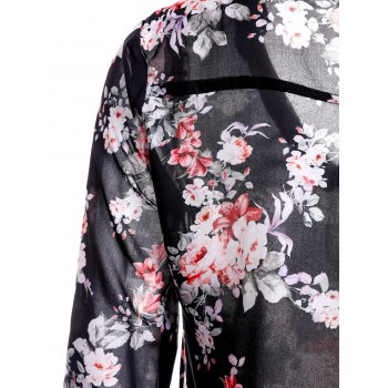 Trendy V-Neck 3/4 Sleeve Floral Print See-Through Women's Blouse - BLACK M