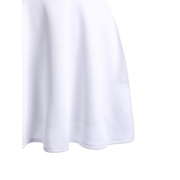 Trendy Plunging Neckline White See-Through Women's Blouse - WHITE WHITE