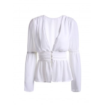 Trendy Plunging Neckline White See-Through Women's Blouse