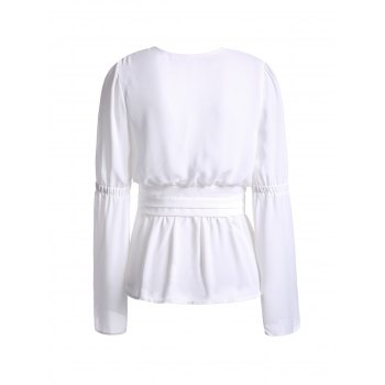 Trendy Plunging Neckline White See-Through Women's Blouse - WHITE L
